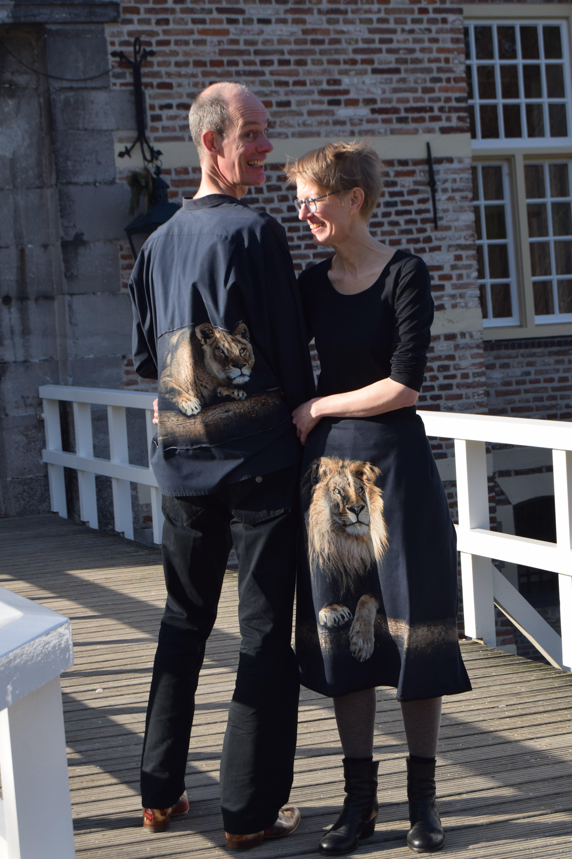 Arjen en Anke in leeuwenoutfit